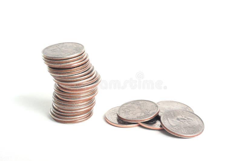 Coin Stack. A stack of US quarter coins stock photos