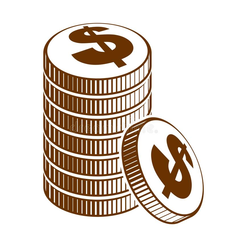 Coin stack cash money or casino chips still-life, vector icon, illustration or logo, revenue or taxes concept. royalty free illustration