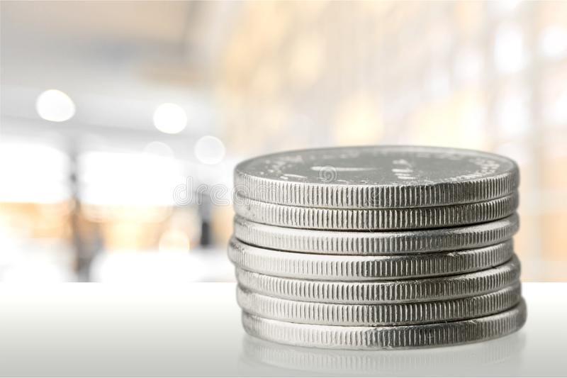 Coin. Stack currency change quarter growth penny stock photos