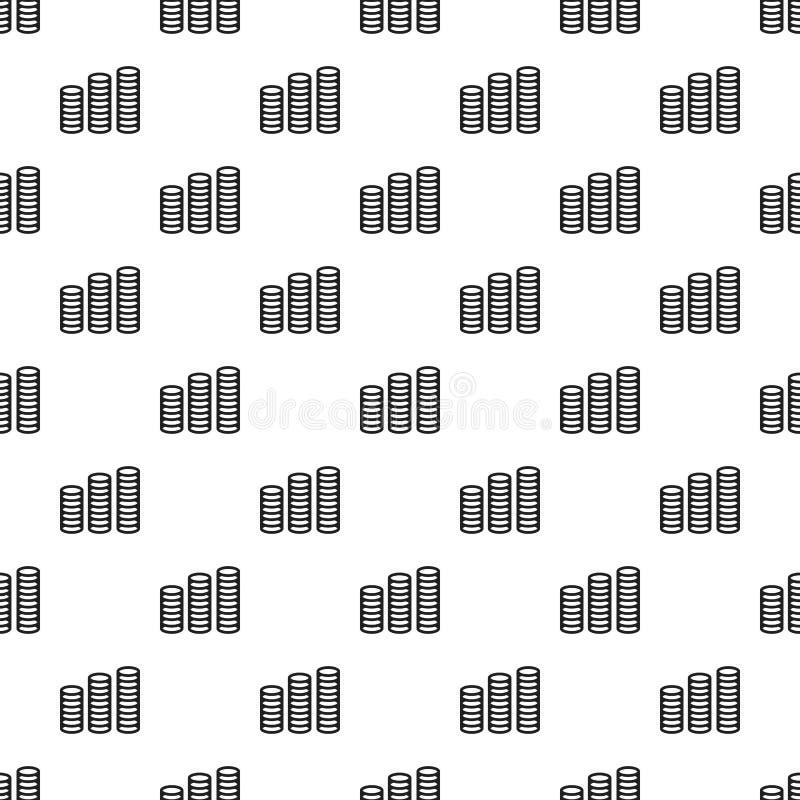 Coin stack money pattern seamless vector stock illustration
