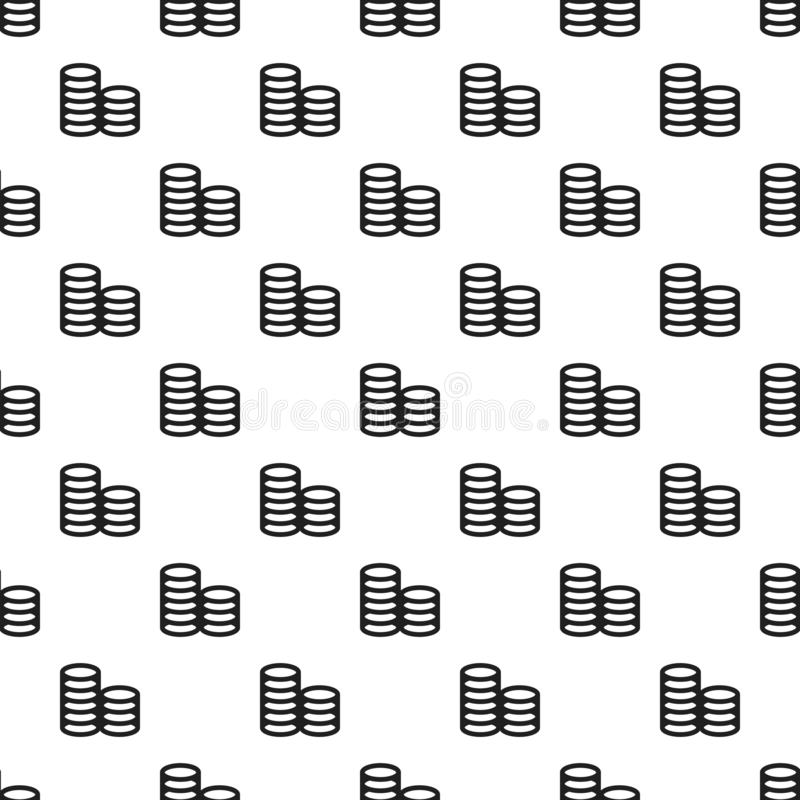 Coin stack pattern seamless vector stock illustration