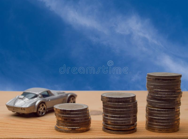 Coin stack, saving money for a car. stock image
