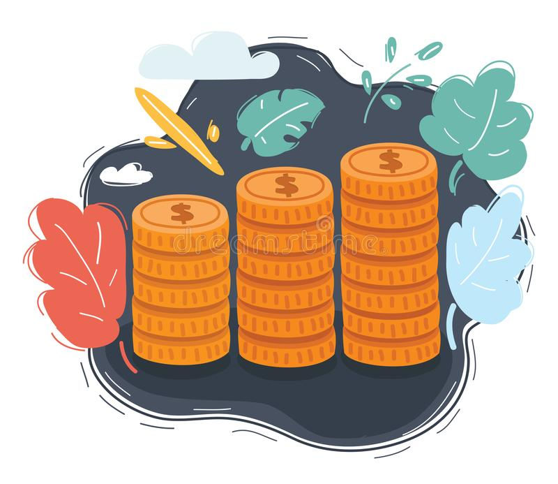 Coin stacks on dark background vector illustration