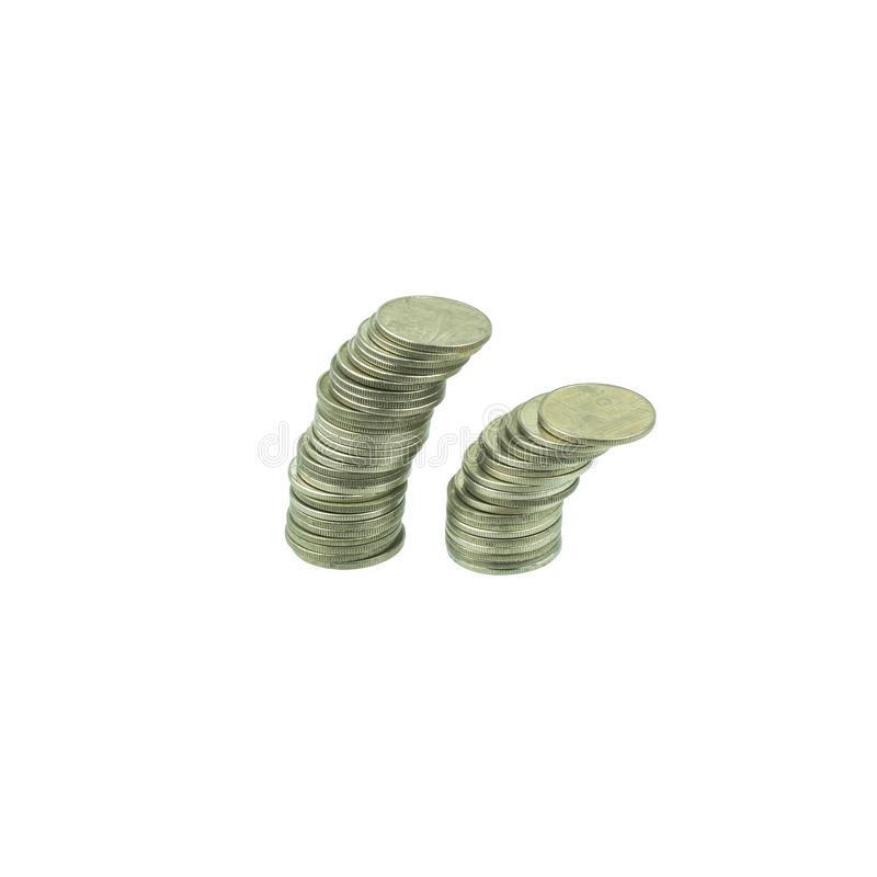 Coin stacks isolated on white background. Saving, Investment money concept. Coin stack growing business. stock images