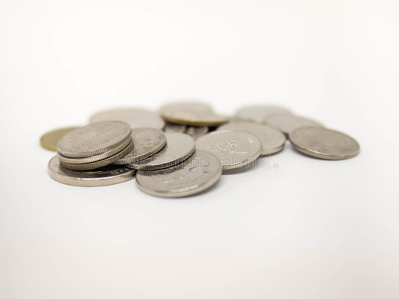 Coin Thai,Pile of coins heap of coins silver gold,Stacks on a white background,Investment money concept, Coin stack growing Isolat stock image