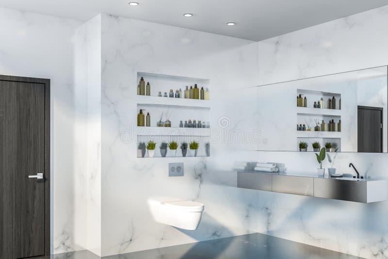 Coin, toilette et évier de marbre blancs de salle de bains illustration libre de droits