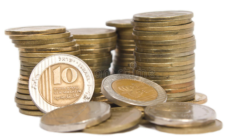 Coin treasure. Towers made out of Israeli shekel coins royalty free stock images