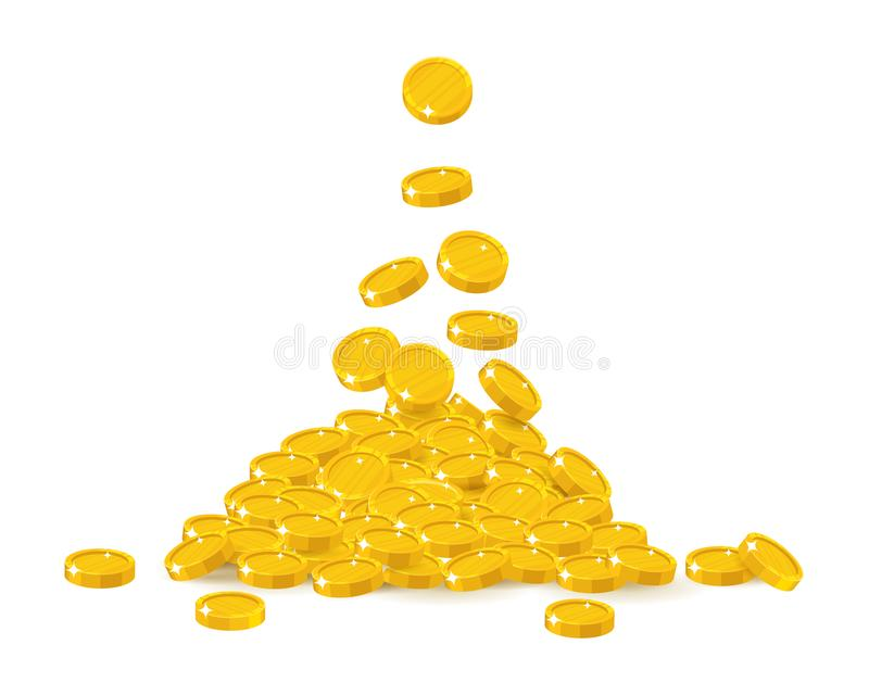 Coin treasure heap. Jackpot or success, financial management, profitability and money growth. Cartoon vector illustration on white background vector illustration