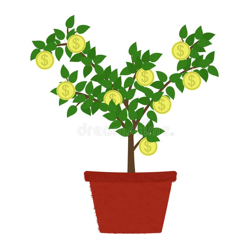 Coin tree in vase. Coin tree in clay vase. Isolated. White background. Conceptual illustration royalty free illustration
