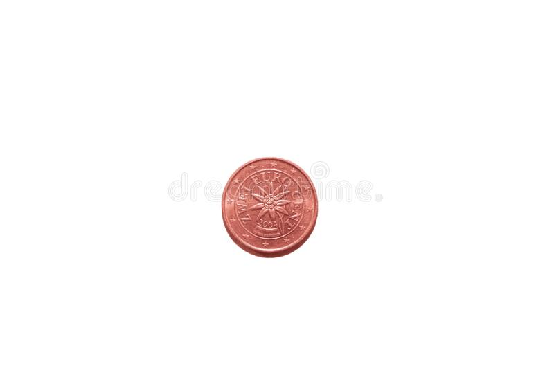 The coin is two euro cent in 2004. Isolate on white background vector illustration
