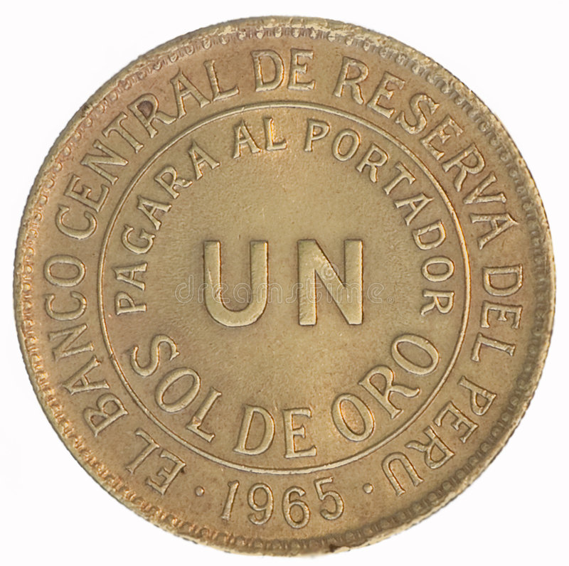 Coin. Un Sol de oro. Peru. Avers royalty free stock photos