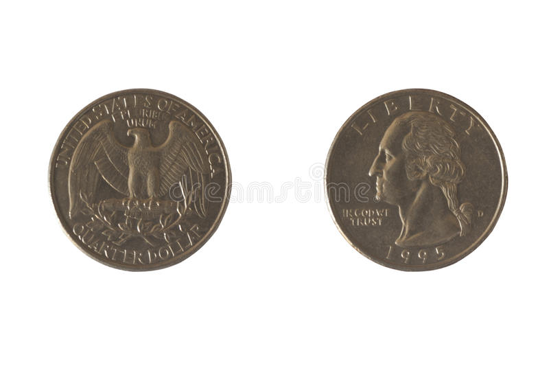 Coin USA 25 cents. Coin USA 25 cents with the image of George Washington and bald eagles. A quarter of a dollar. Copper plated copper-Nickel, 1995 royalty free stock photo