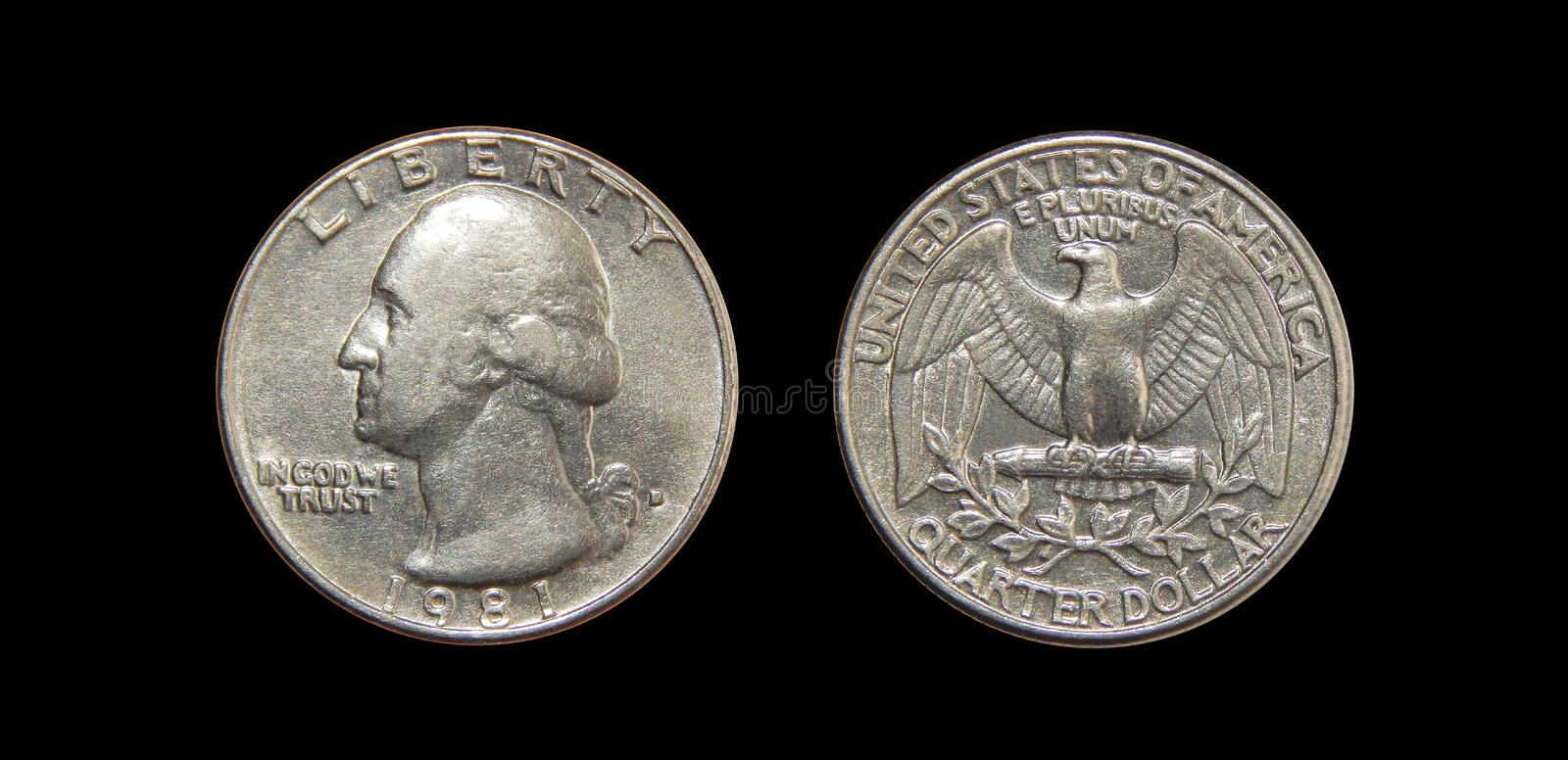 Coin of America Quarter dollars on isolated black background. The coin was minted from 1932 to the present day at the mints of Philadelphia, Denver and San stock photography