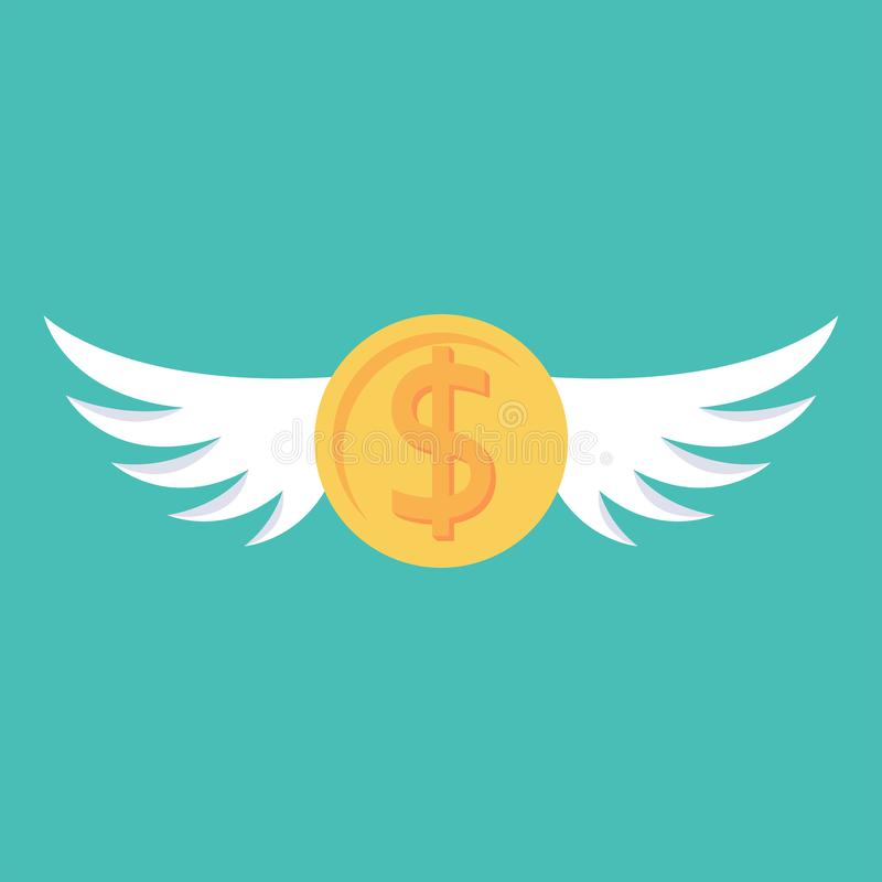Coin with wings. Fly dollar. Money flying. vector illustration