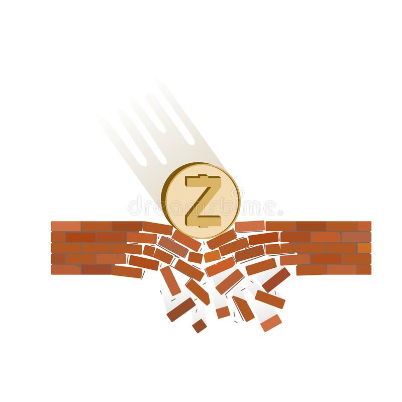 Coin of zcash fall down on a white background. Crypto currency breaks through the brick wall of support , vector image design concept stock illustration