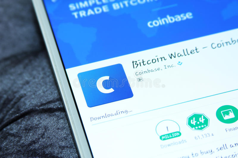 Coinbase bitcoin wallet mobile app. Downloading coinbase bitcoin wallet mobile app from google play store on samsung tablet stock image