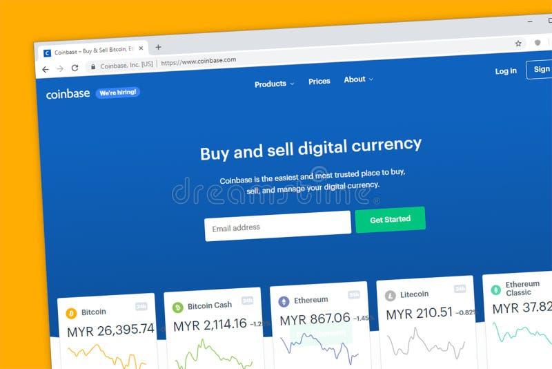 Coinbase strony internetowej homepage Firma wymieniać, kupować i sprzedawać, cyfrowego cryptocurrency lubi fotografia stock