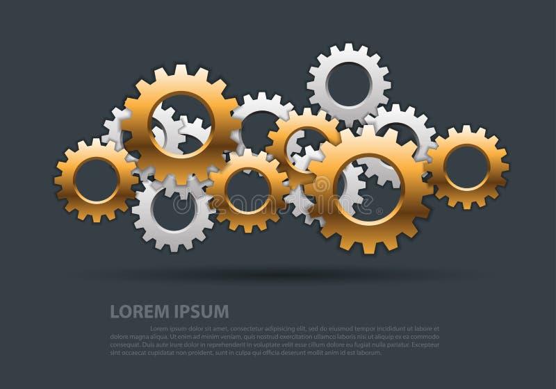 Coincidencia de la plata del oro de los engranajes del extracto en vector futurista industrial moderno del fondo del diseño gris stock de ilustración