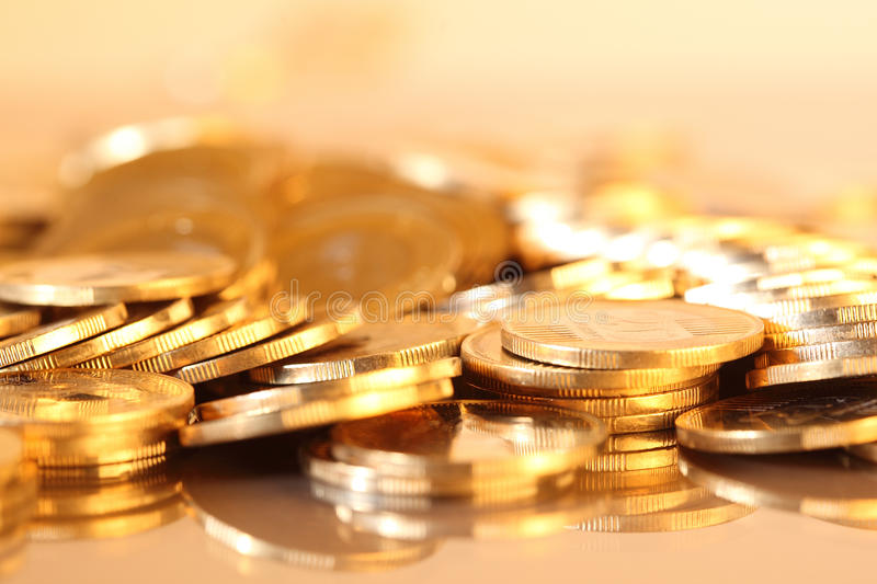 Coins. Group of gold coins business money royalty free stock photos