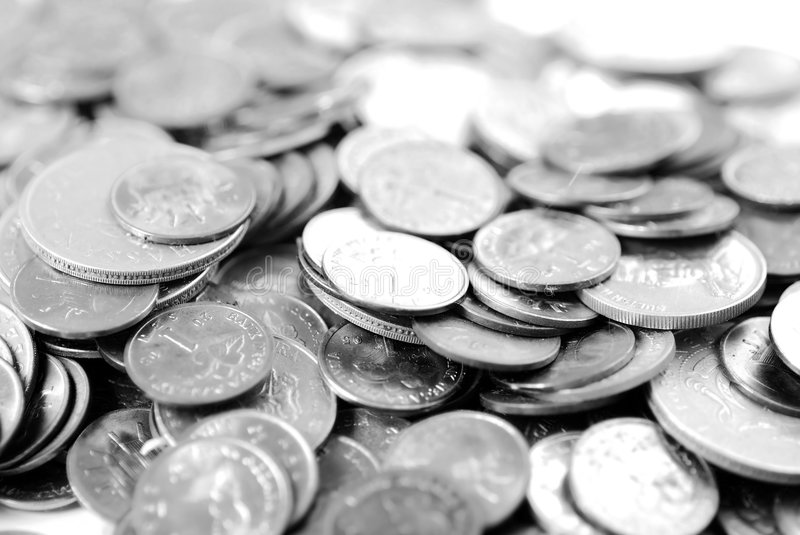 Coins. Still life shot of coins (black and white royalty free stock images