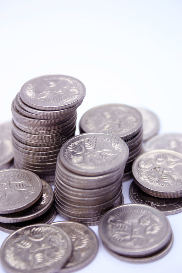 Coins. Australian five cent coins stock photos