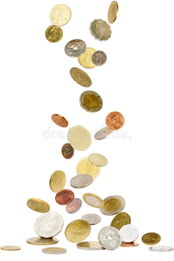 Coins from all over the world royalty free stock photos