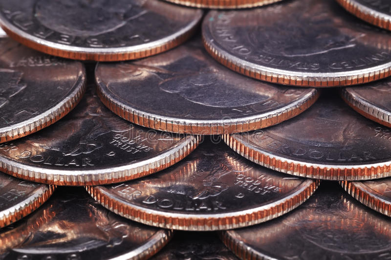 Coins. American one quarter coins, high resolution royalty free stock photos