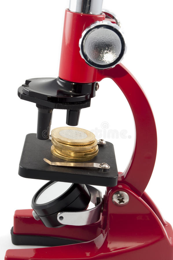 Free Coins And Microscope Stock Images - 14689234