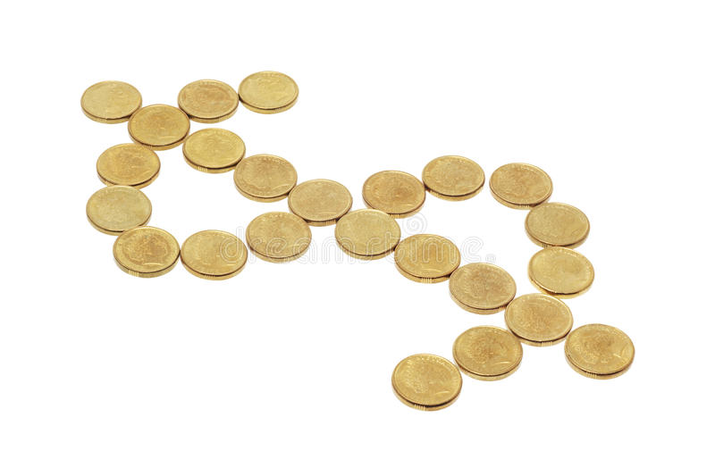 Coins Arranged In Dollar Sign Stock Photography