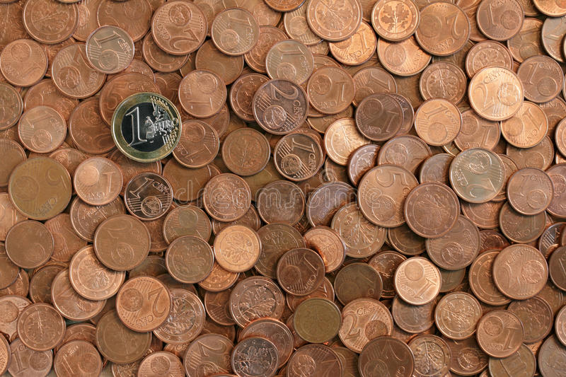 Coins background. Arrangement of Euro cents and coins. Little money for bankers and business men royalty free stock photography