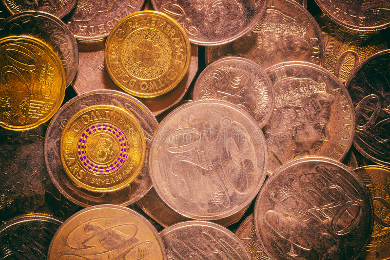 Coins Background. Australian currency coins background,gold royalty free stock photo