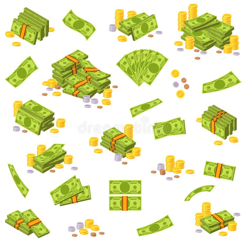 Coins and banknote. Various money bills, paper us dollar bank notes and gold coins. Cash heap pile, currency stack royalty free illustration