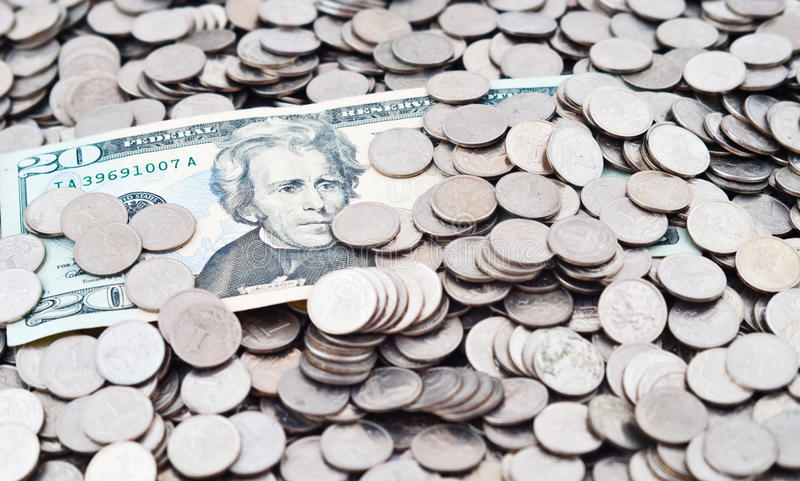 Coins and banknotes. The Russian coins and the American dollars stock photo