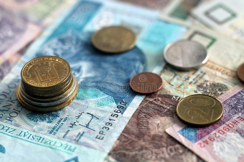 Coins and banknotes. Finance, money, business. World money with chess royalty free stock image