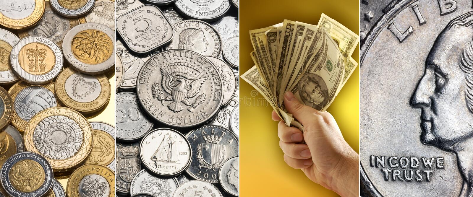 Coins and banknotes - International currency. Coins and banknotes - Bimetallic coins from around the world, Silver coins, Handful of US Dollar Banknotes and royalty free stock photo