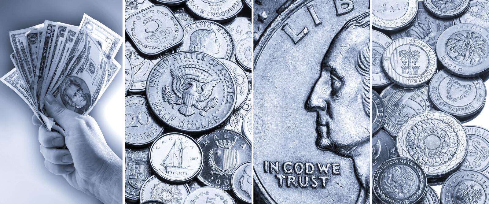Coins and banknotes - International currency stock photo