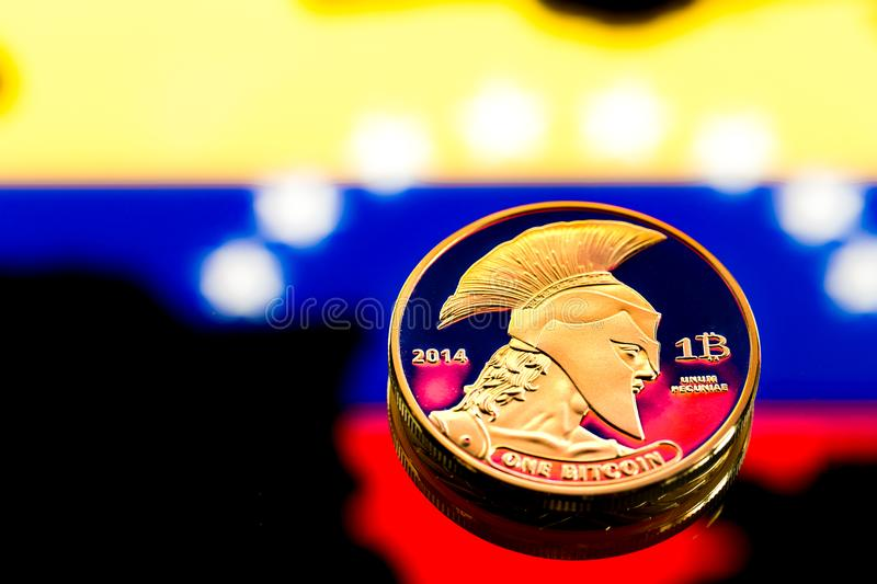 Coins Bitcoin, amid Colombia flag, concept of virtual money, close-up. Conceptual image. Coins Bitcoin, amid Colombia flag, concept of virtual money, close-up royalty free stock photography