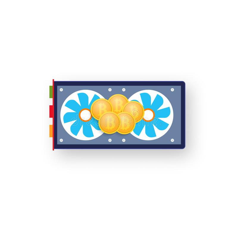 Coins bitcoin on a computer graphics card. royalty free illustration