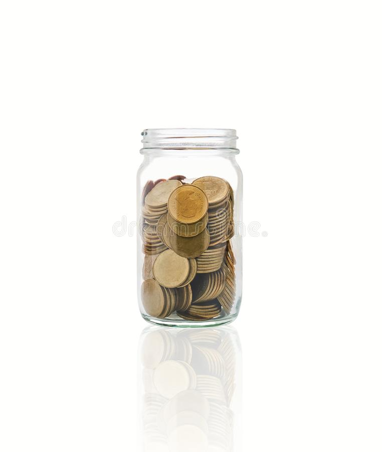 Coins in a bottle, Represents the financial growth. The more money you save, the more you will get.  stock image