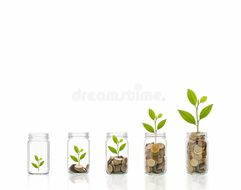Coins in a bottle, Represents the financial growth. The more money you save, the more you will get. Coins in a bottle, Represents the financial growth. The more royalty free stock photo