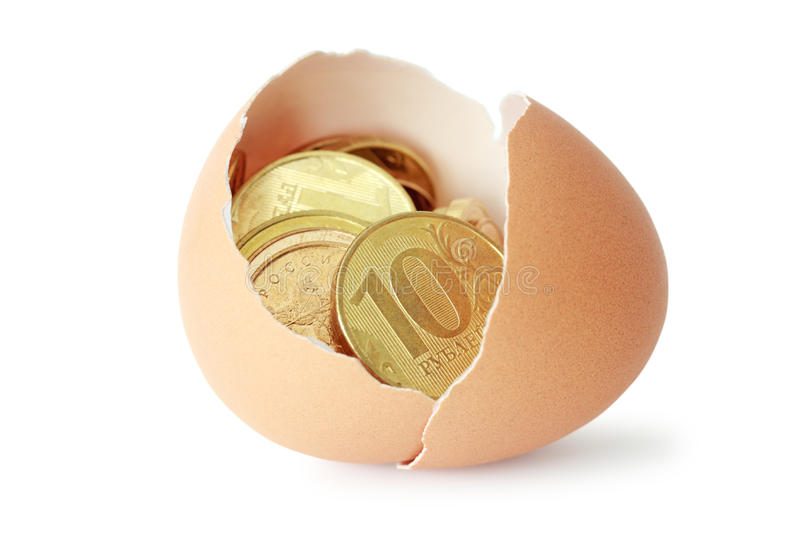 Download Coins in broken eggshell stock photo. Image of eggshell - 24775502
