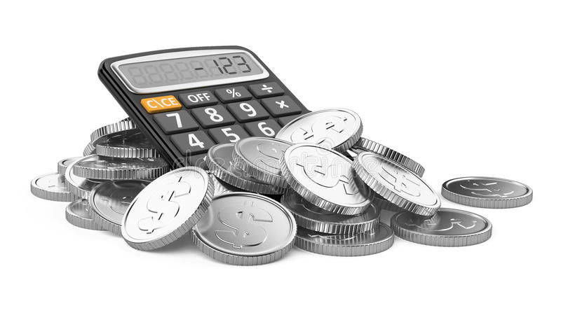 Coins and calculator. On white background vector illustration