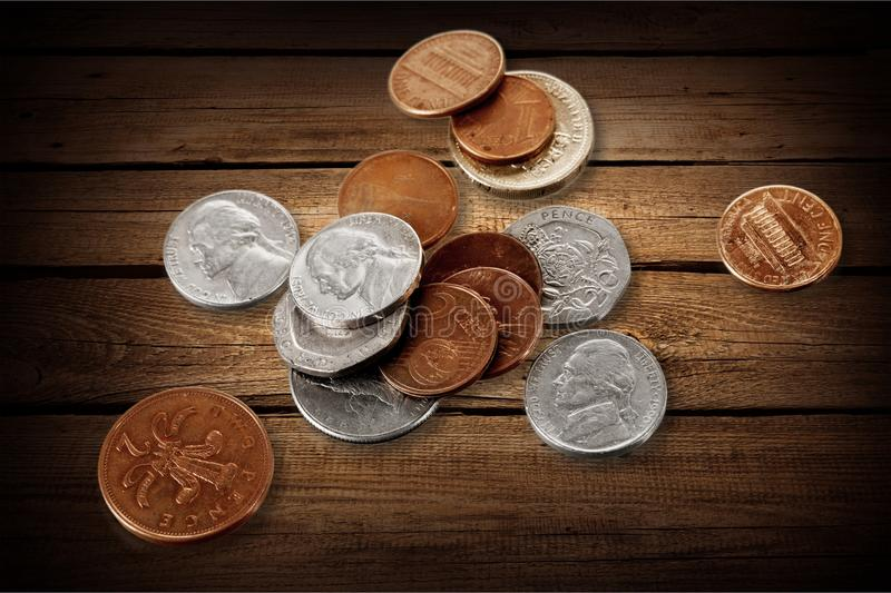 Coins. Old mite historical two rome white stock photography