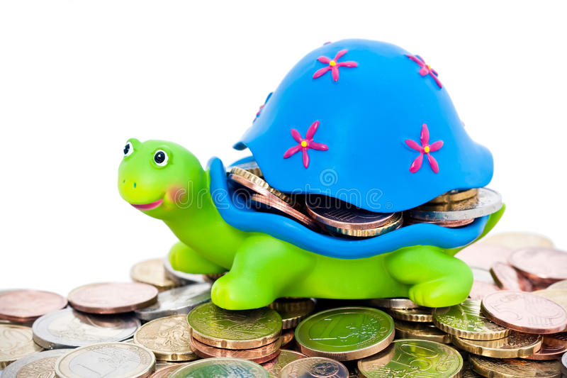 Coins And Colorful Turtle Royalty Free Stock Photo