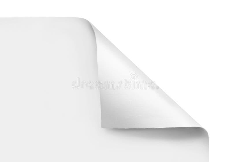 Coins courbés du papier blanc de feuille photo stock