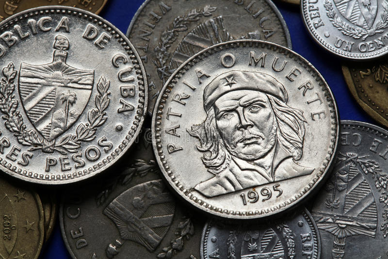 Coins of Cuba. Ernesto Che Guevara. Coins of Cuba. Cuban national hero Ernesto Che Guevara depicted in the Cuban three peso coin stock images