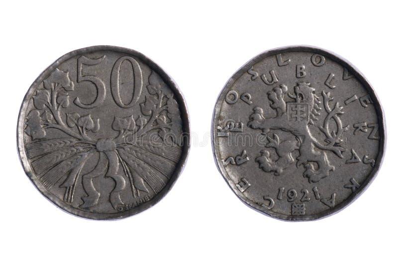 coins czechoslovakia royaltyfria bilder
