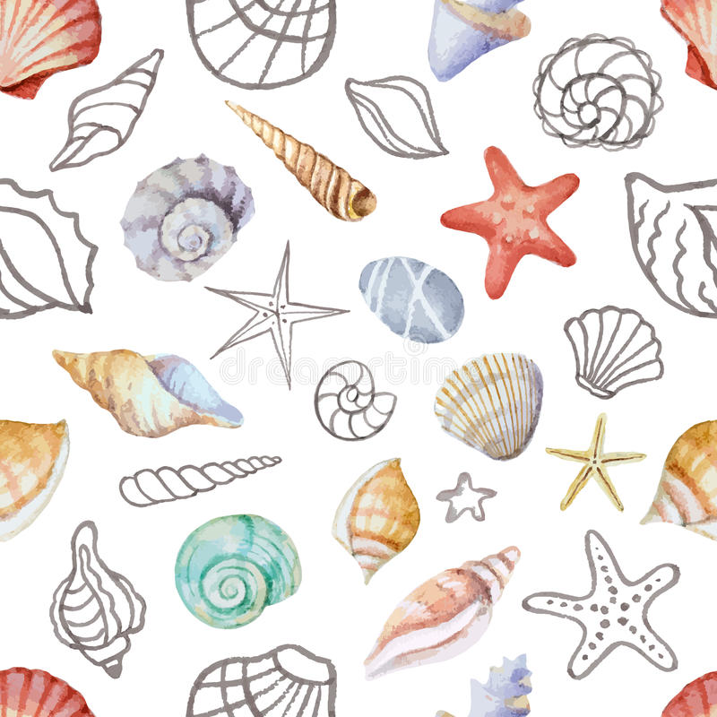 Coins d'aquarelle du cadre avec des coquilles de mer illustration libre de droits