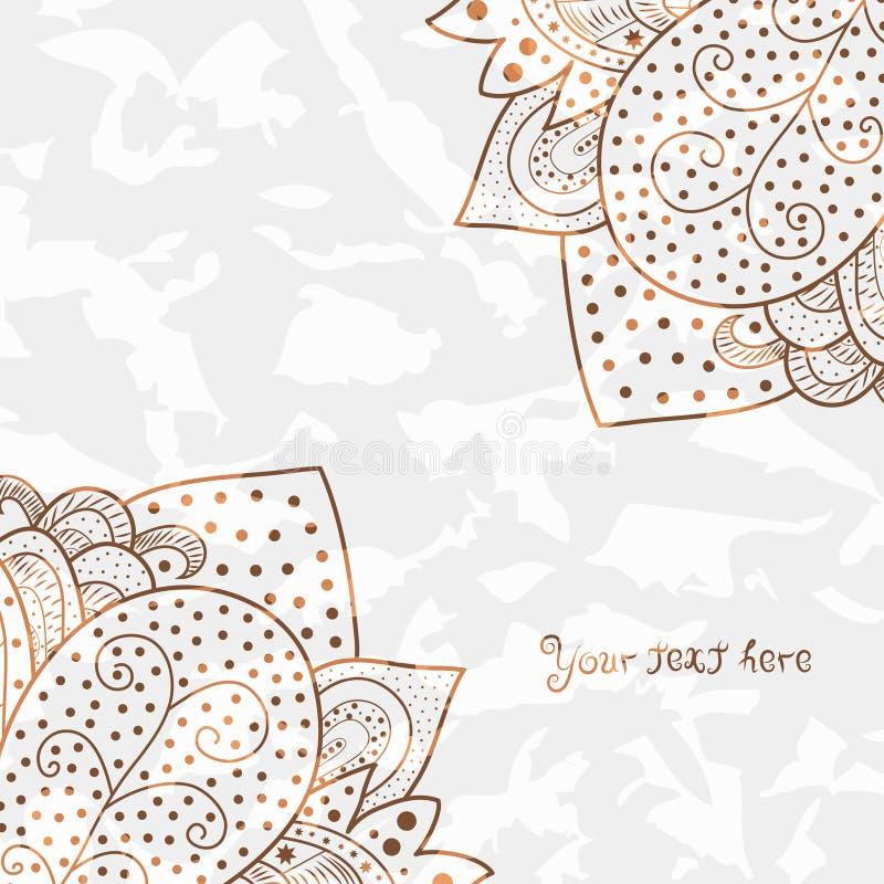 Coins d'invitation de vintage sur le fond grunge blanc avec l'ornement de dentelle, conception de cadre de calibre pour la carte  illustration libre de droits