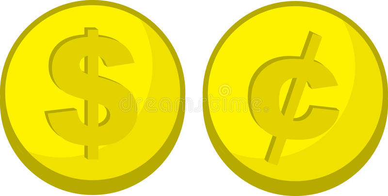 Coins Dollar Cent Symbol. Gold coins with dollar and cent symbols vector illustration